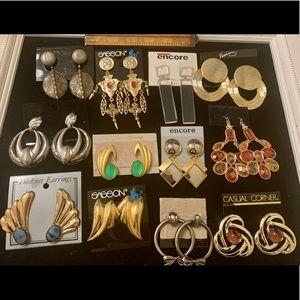 12 pairs vintage earrings deadstock 1980's